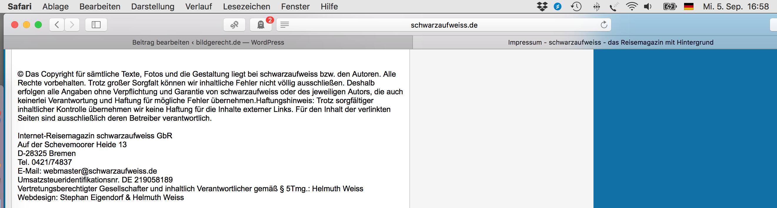 Urheber-und Nutzungshinweise website schwarzaufweiss.de